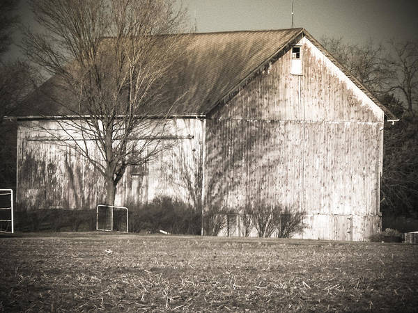 Digital Photography Barns Old White Rual Trees Country Shadow Field Landscape Posters Prints Greeting Cards Art Print featuring the mixed media Old White Barn by Connie Dye