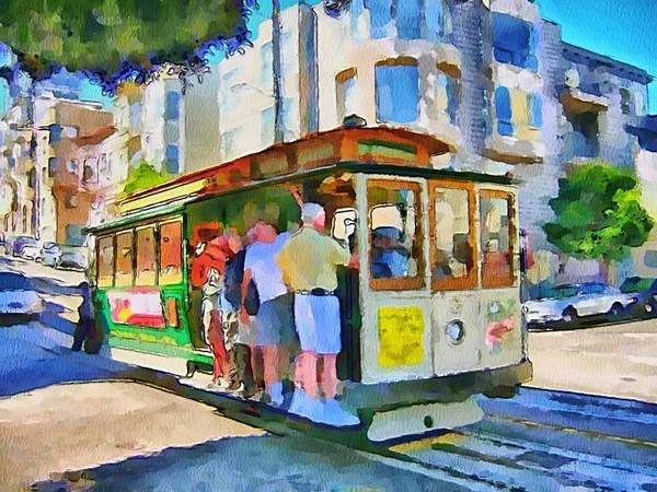 San Art Print featuring the digital art On Tram In San Francisco by Yury Malkov