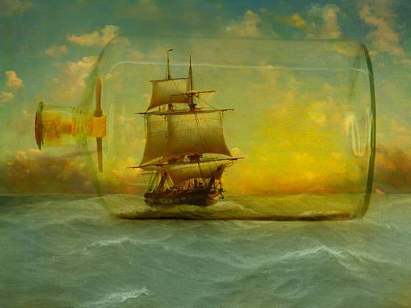 Ship Art Print featuring the photograph Once In A Bottle by Jeff Burgess