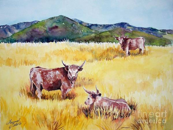 Cows Print featuring the painting Open Range Patagonia by Summer Celeste