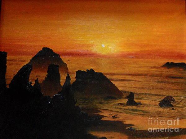 Sunset Art Print featuring the painting Oregon Sunset by Suzette Kallen