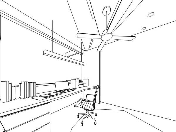 Outline Sketch Drawing Interior Perspective Of House Art Print By Tsxmax