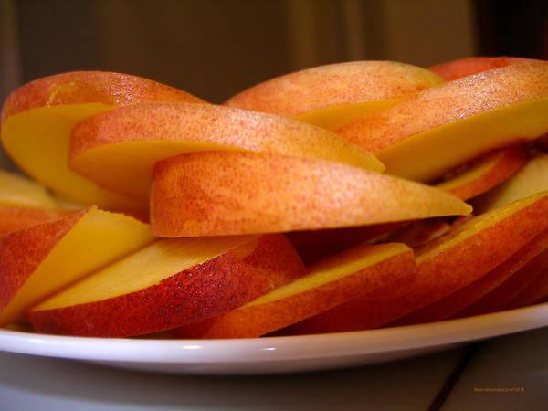 Peach Art Print featuring the photograph Peach Slices by Brian Gilna