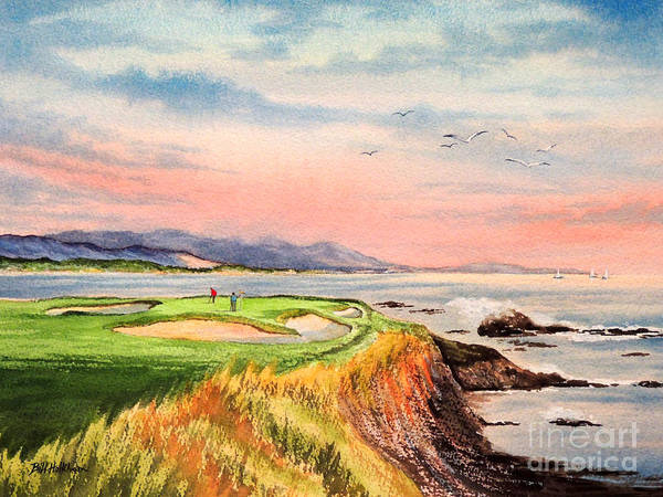 Golf Art Print featuring the painting Pebble Beach Golf Course Hole 7 by Bill Holkham