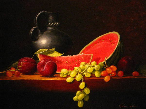 Still Life Art Print featuring the painting Petite Watermelon by Sean Taber