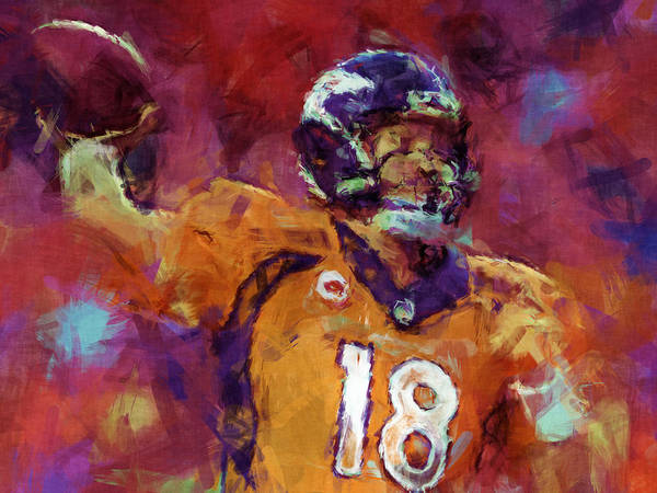 Peyton Art Print featuring the digital art Peyton Manning Abstract 5 by David G Paul