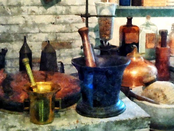 Drugstore Art Print featuring the photograph Pharmacist - Three Mortar And Pestles by Susan Savad