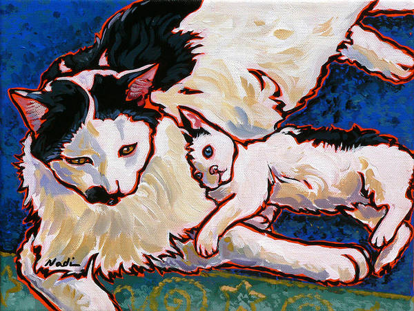 Cat Art Print featuring the painting Pirate And June by Nadi Spencer