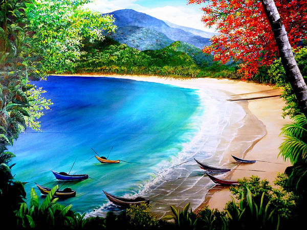 Fishing Boats Art Print featuring the painting Pirogues At Rest by Karin Dawn Kelshall- Best