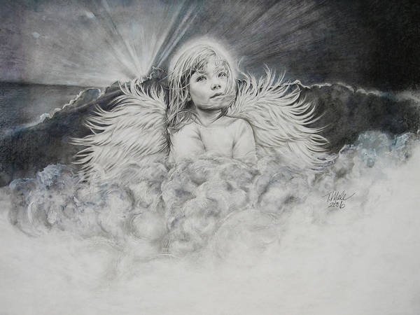 Angel Drawing Art Print featuring the drawing Prayers To An Angel by Tracy Male