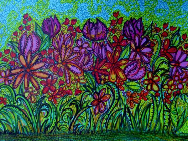 Psychedelic Colors Art Print featuring the drawing Psychedelic Flower Garden by Gerri Rowan