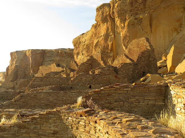 Chaco Art Print featuring the photograph Pueblo Bonito And Cliff by Feva Fotos