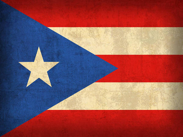 Puerto Art Print featuring the mixed media Puerto Rico Flag Vintage Distressed Finish by Design Turnpike