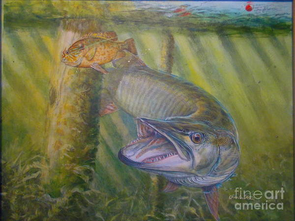 Muskie Chasing Panfish At Dockside Art Print featuring the painting Pumpkinseed Peril by Charles Weiss