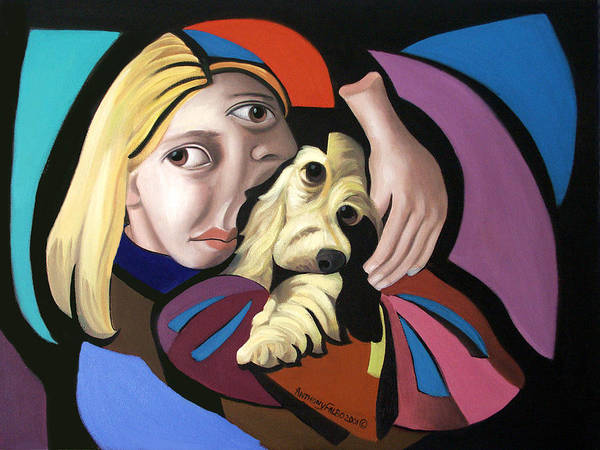 Puppy Love Framed Prints Print featuring the painting Puppy Love by Anthony Falbo