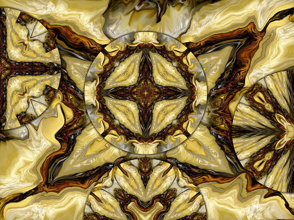 Cream Art Print featuring the digital art Quilted Cream by Joyce Rogers
