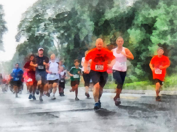 Run Art Print featuring the photograph Racing In The Rain by Susan Savad