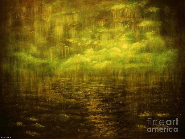 Rain Art Print featuring the painting Rainy Night Over Norway-original Sold-buy Giclee Print Nr 20 Of Limited Edition Of 40 Prints by Eddie Michael Beck