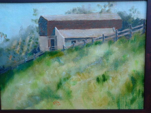Landscape Horse Barn Estate Art Print featuring the painting Rancho Sante Fe Stable Of Sahm by Bryan Alexander