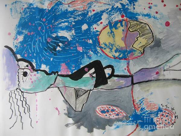 Abstract Paintings Art Print featuring the painting Read My Mind2 by Seon-Jeong Kim
