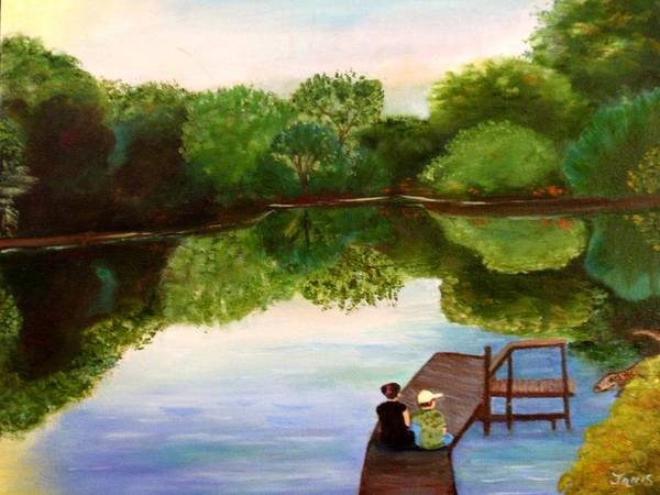 Lake In Arkansas Art Print featuring the painting Reflections by Janis Tafoya