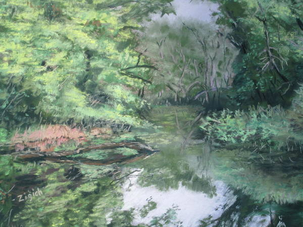 Landscape Art Print featuring the painting Reflections On The Valley River by Stephen Zigich