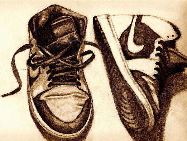 Shoes Art Print featuring the drawing Retro 1 by Dallas Roquemore