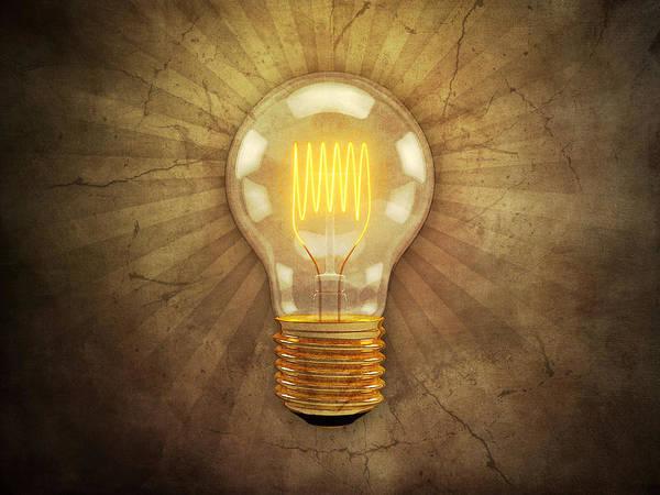 Lightbulb Art Print featuring the digital art Retro Light Bulb by Scott Norris