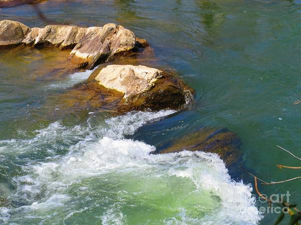 Great Falls Art Print featuring the photograph River Rocks by Rrrose Pix