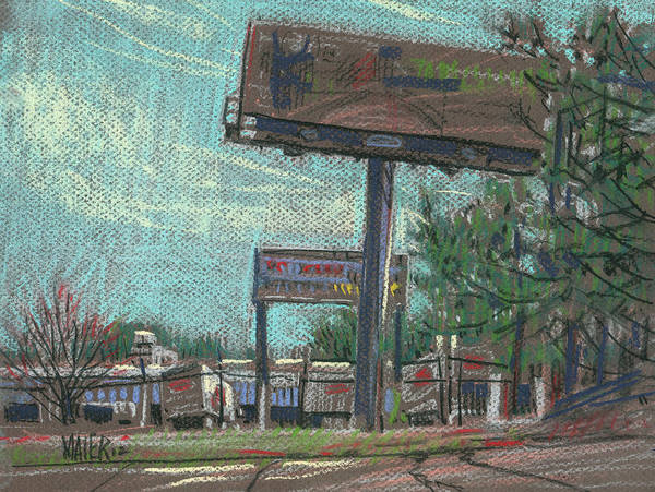 Billboards Art Print featuring the drawing Roadside Billboards by Donald Maier