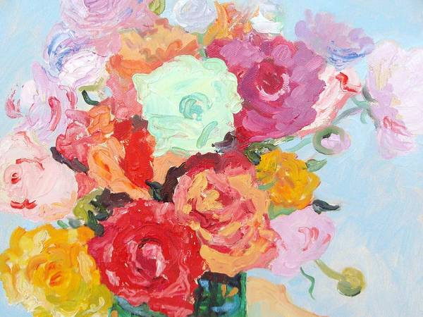 Roses Art Print featuring the painting Roses And Ranunculus 2011 by Elinor Fletcher