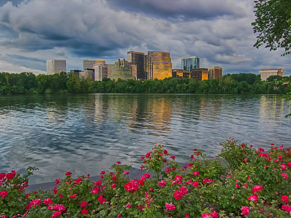 Potomac River Sunset Art Print featuring the photograph Rosslyn Virginia Sunset From Across The Potomac River by Martin Belan