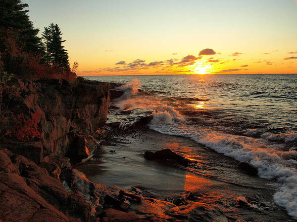 Jim Art Print featuring the photograph Rugged Shore Fall by James Peterson
