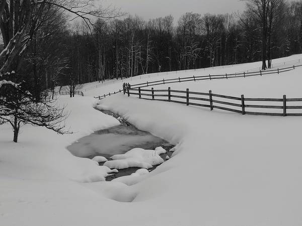 Snow Art Print featuring the photograph Running Water Running Fence by Mark J Curran