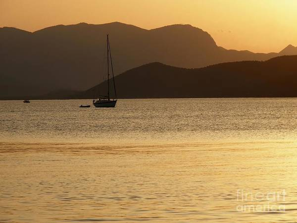 Sunset Art Print featuring the photograph Sailboat At Sunset by Sophie Vigneault