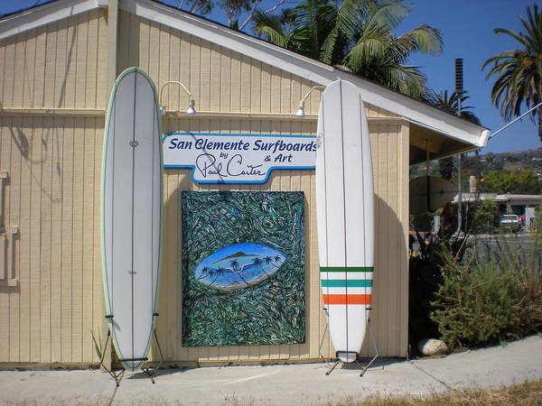 Sanclementesurfboardsphoto Art Print featuring the photograph San Clemente Surfboards by Paul Carter