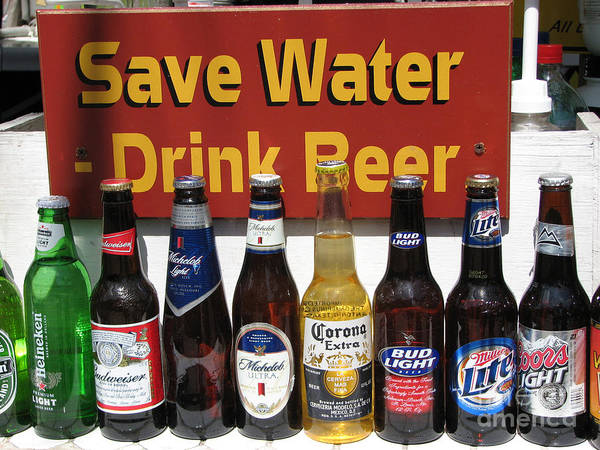 Fun Art Print featuring the photograph Save Water Drink Beer by Stacey May