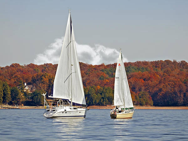Two Print featuring the photograph Seasonal Sailing by Susan Leggett