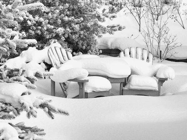 Blizzard Art Print featuring the photograph Seasonal Yard Furniture by Trever Miller