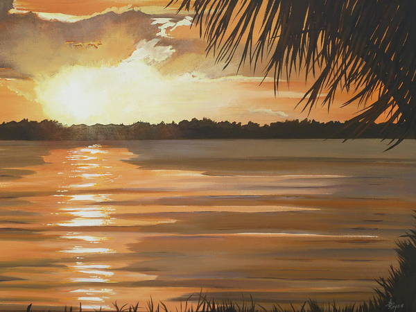 Sunset Art Print featuring the painting September Sunset 7 32pm Haulover Park by Lori Royce