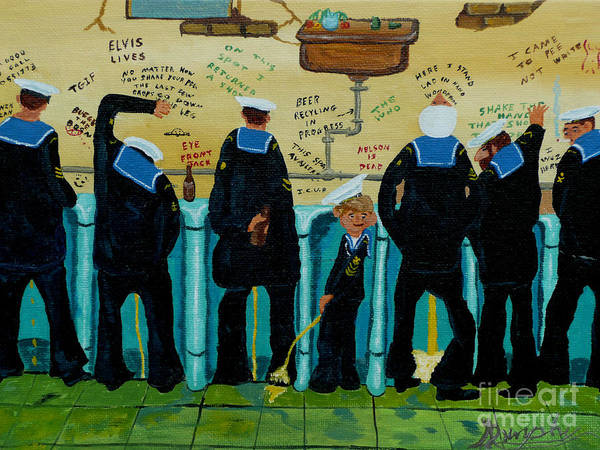 Sailors Art Print featuring the painting Seven Sailors by Anthony Dunphy