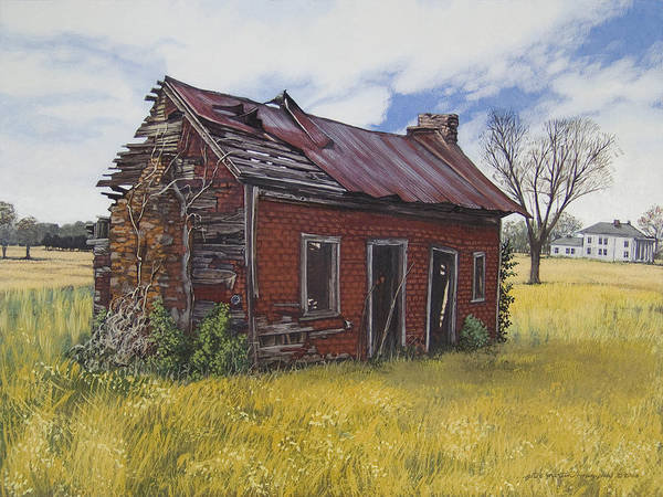 Landscape Art Print featuring the painting Sharecroppers Shack by Peter Muzyka