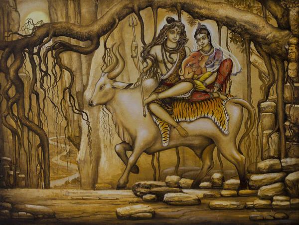 Shiva Art Print featuring the painting Shiva Parvati Ganesha by Vrindavan Das
