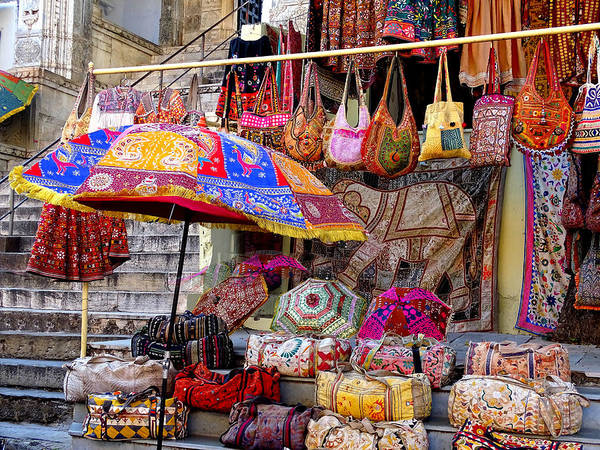 20ee16d95031 Shopping Art Print featuring the photograph Shopping Colorful Bags Sale  Jaipur Rajasthan India by Sue Jacobi