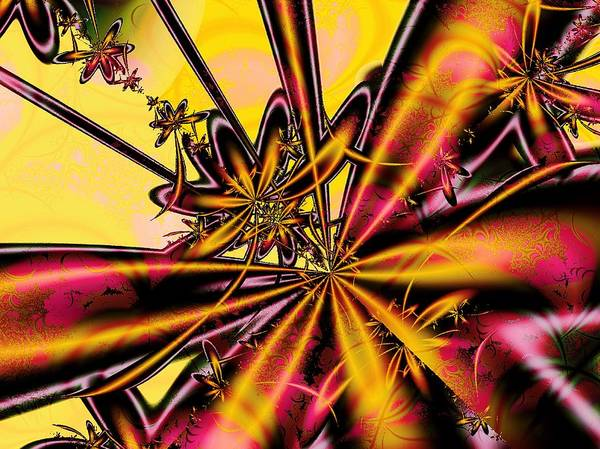Malakhova Art Print featuring the digital art Silk Flower by Anastasiya Malakhova