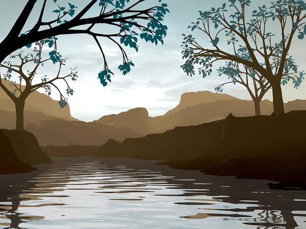 Brown Art Print featuring the digital art Silkscreen by Cynthia Decker