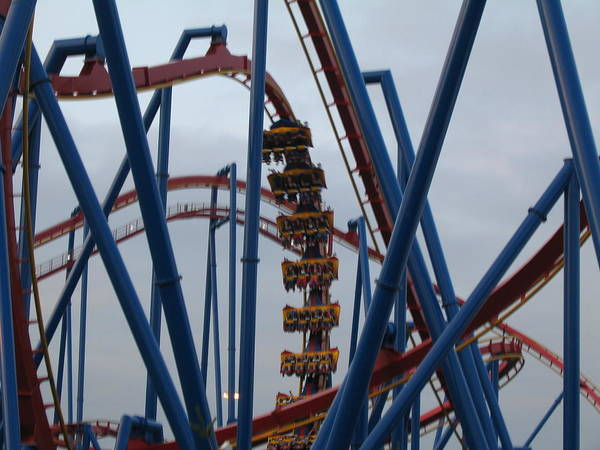 Six Print featuring the photograph Six Flags Great Adventure - Medusa Roller Coaster - 12125 by DC Photographer