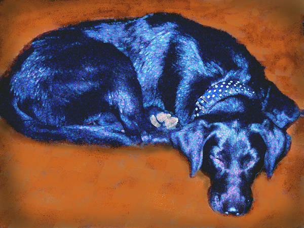 Dog Art Print featuring the digital art Sleeping Blue Dog Labrador Retriever by Ann Powell