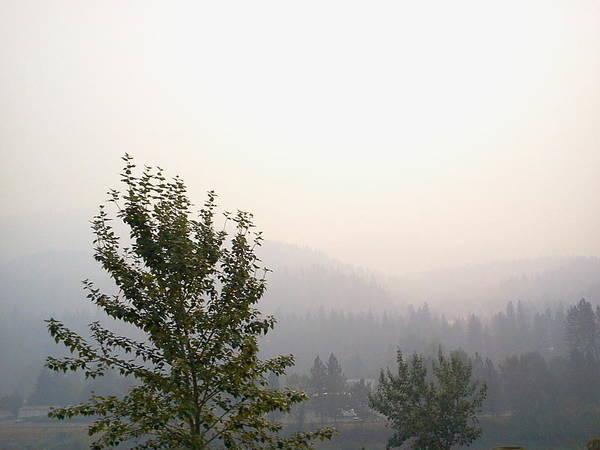 Idaho. Orofino. Landape. Forest Fire. Smoke. Art Print featuring the photograph Smokey Landscape by Debbi Saccomanno Chan