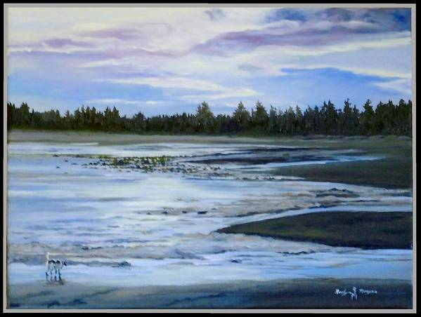 Beachscape Art Print featuring the painting Sniffing by Roslyn Morgan